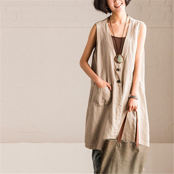 Top - Women Summer Cotton Linen V-neck Vest Top