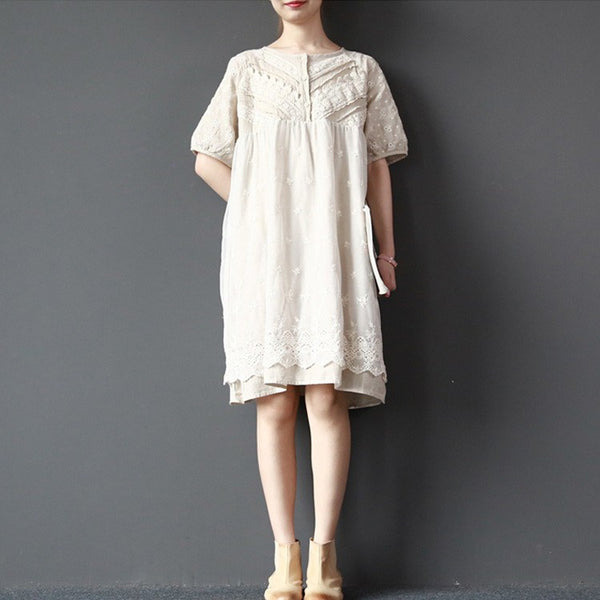 Top - Women Summer Double Loose Cotton Linen Top