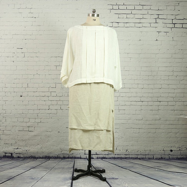 Women summer / fall pleated cotton linen top - Buykud