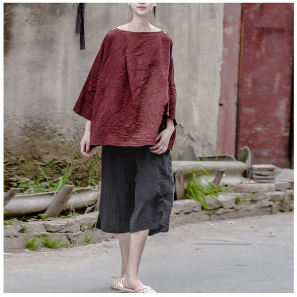 Top - Women Summer Linen Vintage Loose T-shirt