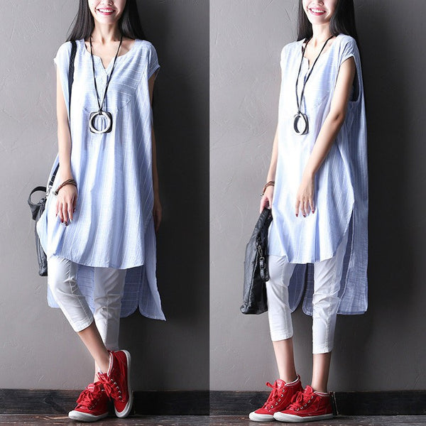 Top - Women Summer Loose Irregular Cotton Linen Top