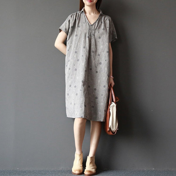 Top - Women Summer Short Sleeve Loose Cotton Linen Shirt