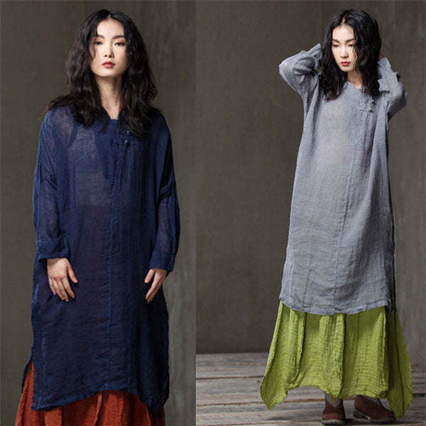 Women Spring summer cotton long-sleeved shirt dress - Buykud
