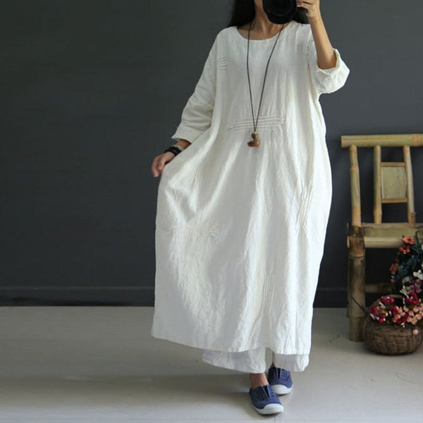 White Casual loose retro linen autumn dress - Buykud