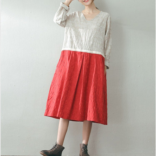 Women Autumn Cotton Linen Dress