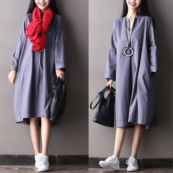 Women autumn irregular long sleeve gray and purple  cotton loose dress - Buykud
