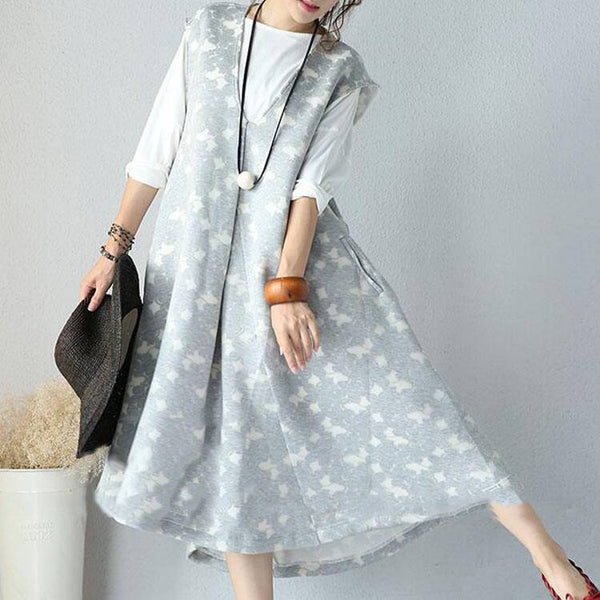 Women  Autumn Long Sleeve  2-pieces Cotton Loose Dress