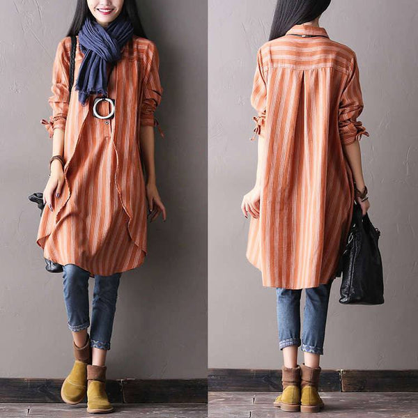 Women autumn long sleeve cotton irregular shirt dress - Buykud