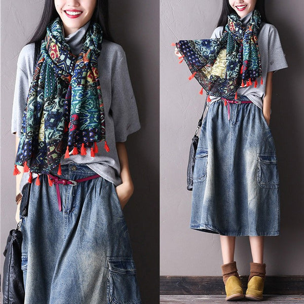 Women Autumn Vintage  Print Cotton Scarf