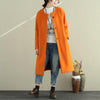 Women Autumn Winter Single Breasted Pockets Below-Knee Length Coat