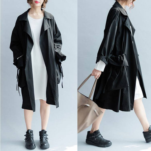 Women black autumn 3/4 sleeve gray  cotton loose thin coat - Buykud
