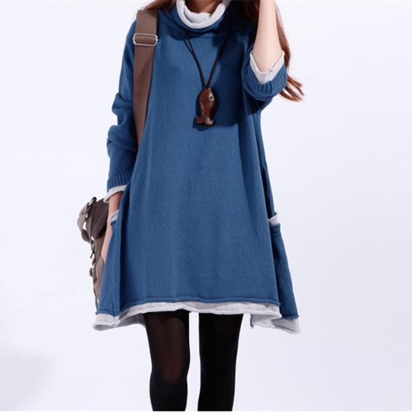 Women Casual Loose Cotton Sweater Knitting Dress