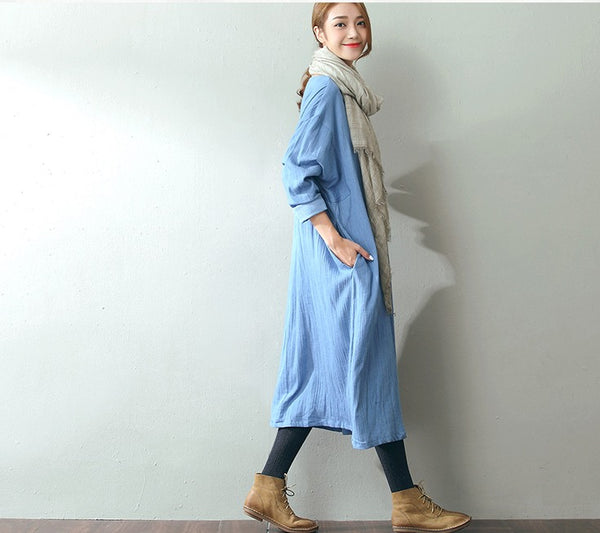 Women Casual Loose Fitting Cotton Linen Dress