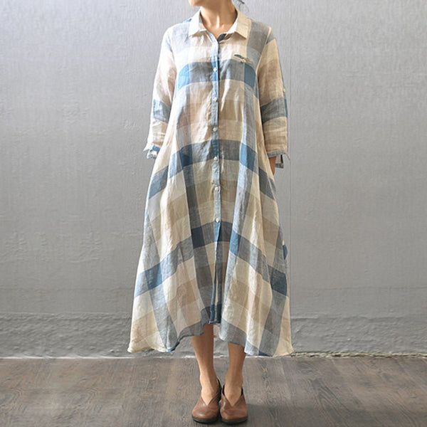 Women Casual Loose Fitting Cotton Linen Shirt Dress