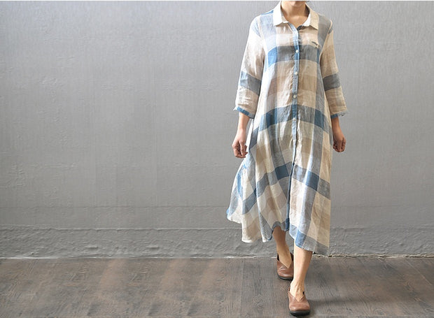 Women casual loose fitting cotton linen shirt dress - Buykud