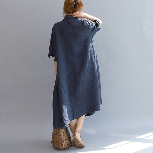 Women casual loose fitting dress short sleeve summer shirt dresses - Buykud