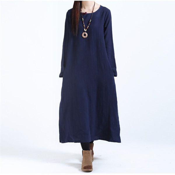 Women Casual Loose Fitting Long Sleeve Cotton Linen Maxi Dress