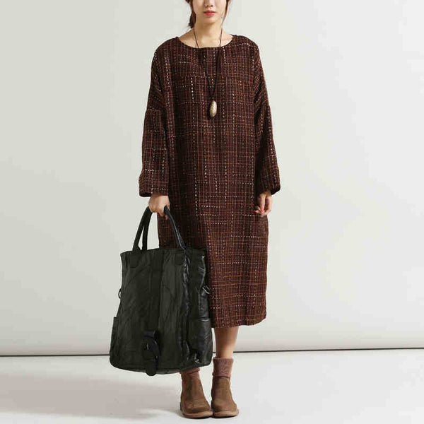 Women casual loose fitting plus size wool dress - Buykud