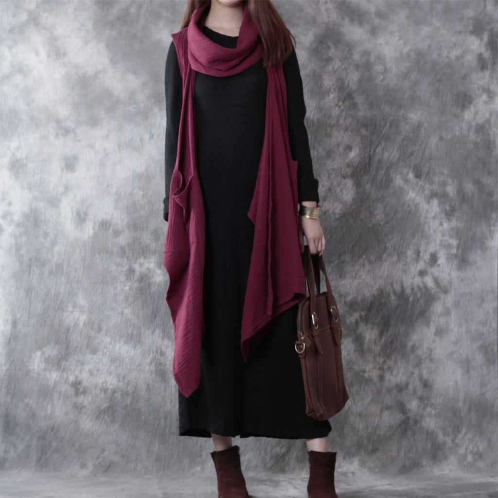 Women Casual Loose Irregular Linen Autumn Vest Coat