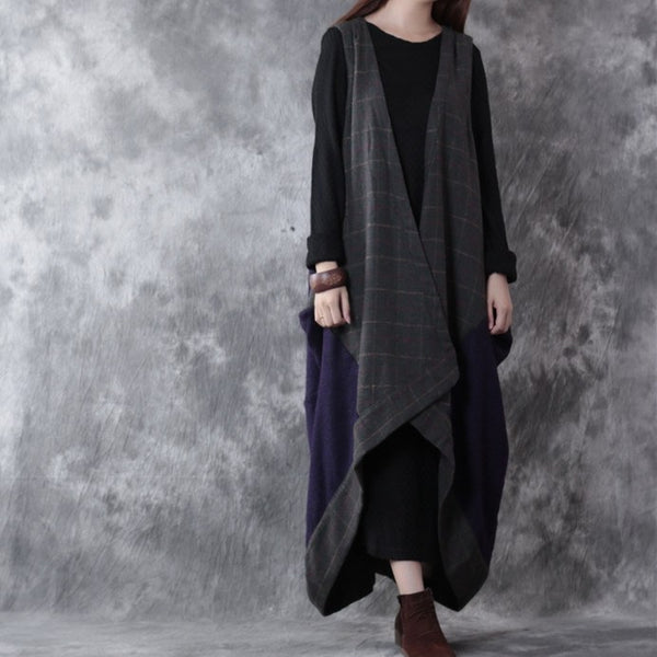 Women Casual Loose Irregular Woolen Autumn Vest Coat