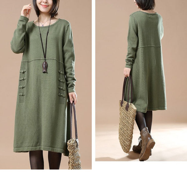 Women Cotton Knitted Casual Loose Sweater Dress