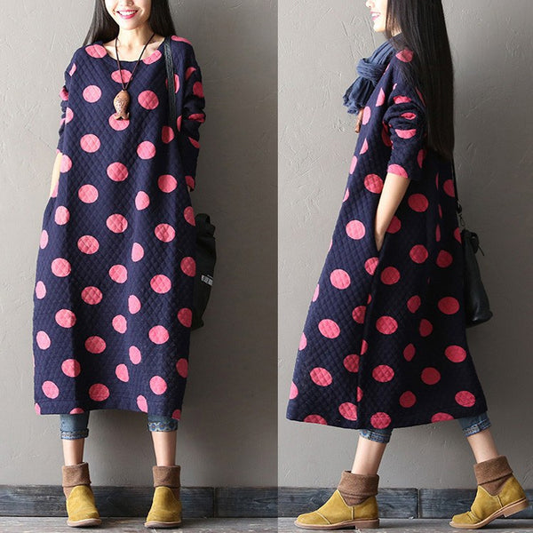 Women Cotton  Large Size Blue Long Sleeve Winter And  Autumn Maxi Dress