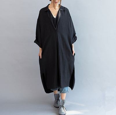 Women cotton linen casual loose fitting summer dress - Buykud