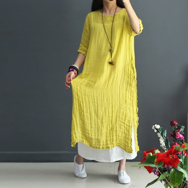Women Cotton Linen Dress