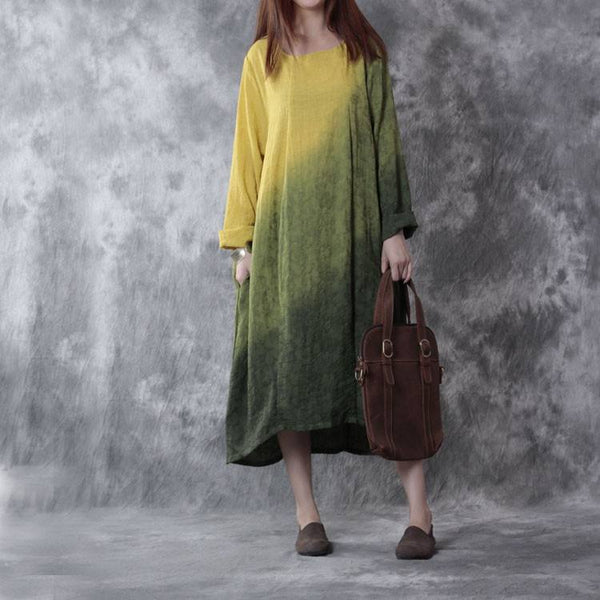 Women Cotton Linen Dress Casual Loose Fitting Long Sleeve
