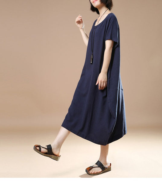 Women Cotton Linen Dress Loose Dress Summer Dress Short Sleeve Dress Large Size Dress