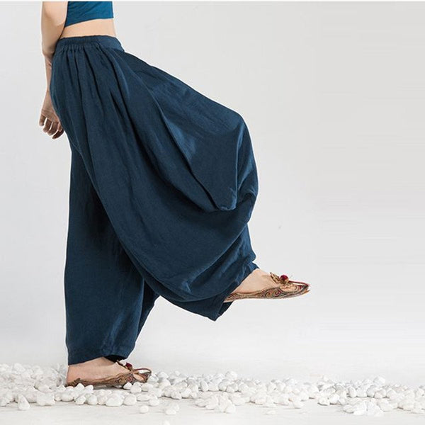 Women Cotton Linen Harem Pants Dark Blue
