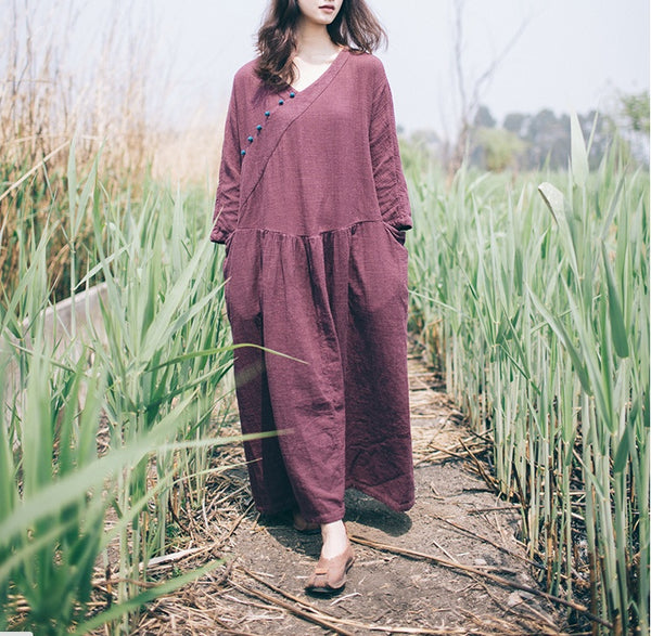 Women Cotton Linen Long Sleeve Dress