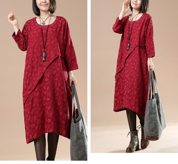 Women Cotton Linen Loose Autumn Dress