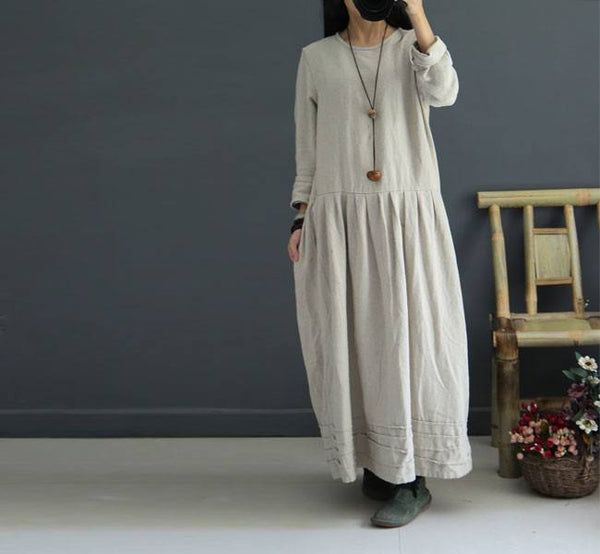 Women Cotton Linen Loose Autumn Dress Beige