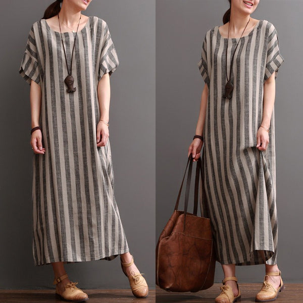 Women Cotton Linen Loose Dress
