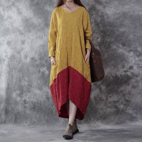 Women cotton linen loose fitting dress - Buykud