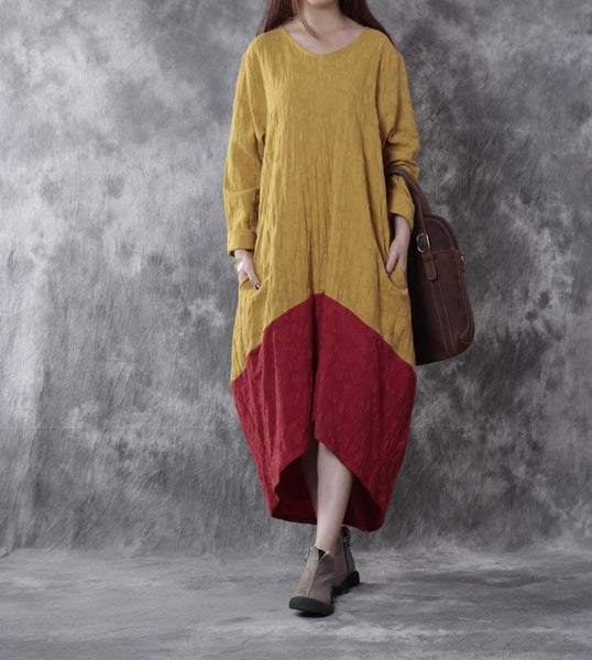 Women Cotton Linen Loose Fitting Dress