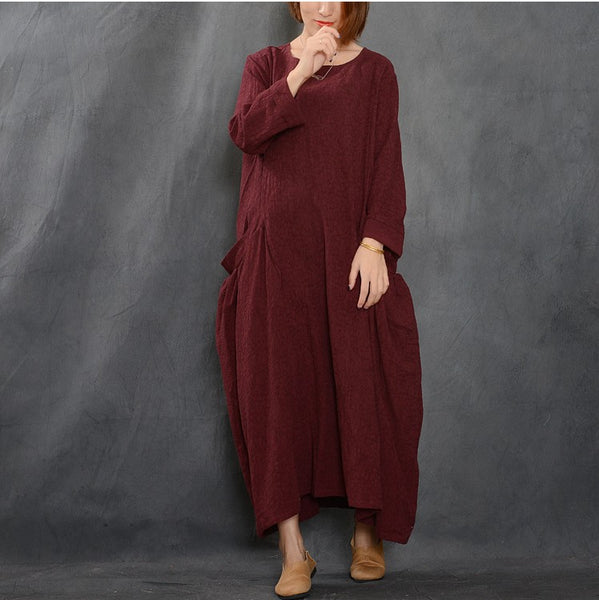 Women cotton linen loose fitting long autumn dress - Buykud