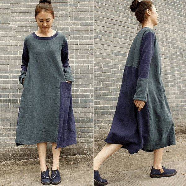 Women Cotton Linen Loose Fitting Long Sleeve Dress