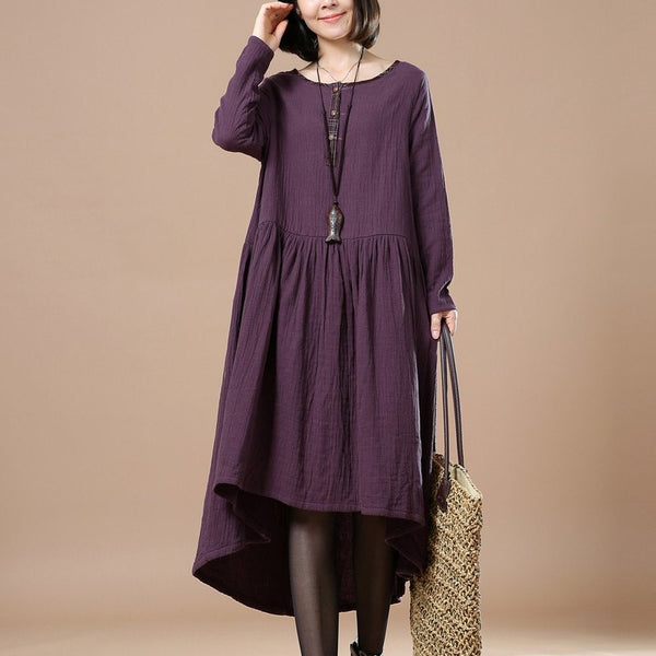 Women cotton linen loose fitting maxi dress - Buykud