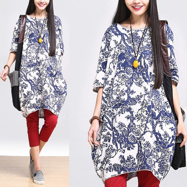 Women Cotton linen loose fitting print blouse - Buykud