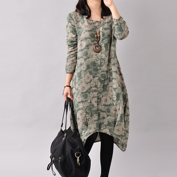 Women Cotton Linen Loose Fitting Print Dress Blue