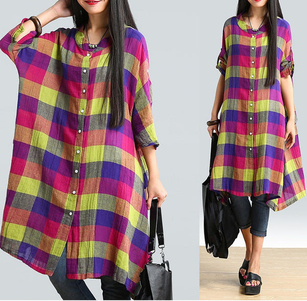 Women cotton linen loose fitting summer shirt - Buykud