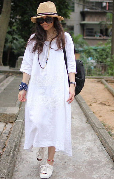 Women Cotton Linen Loose Print Summer Dress