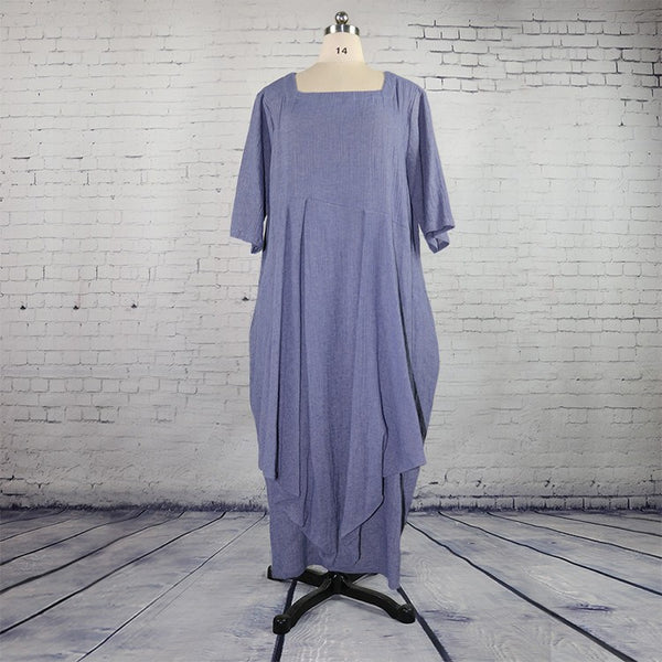 Women Cotton Linen Middle Sleeve Dress