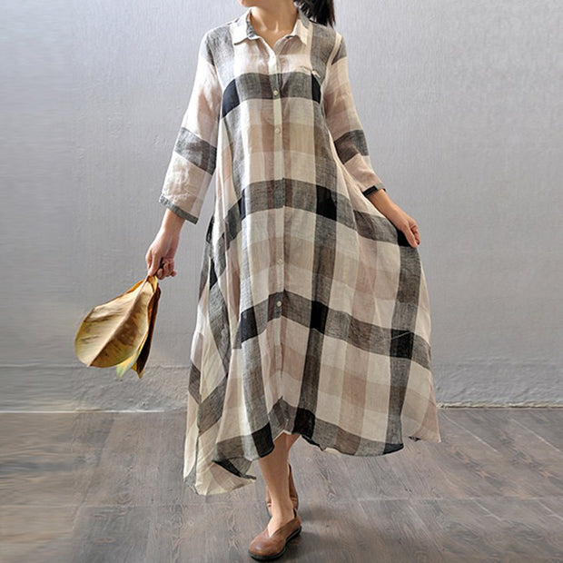 Women cotton linen shirt dress summer 3/4 sleeve - Buykud
