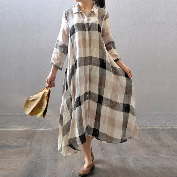Women Cotton Linen Shirt Dress Summer 3/4 Sleeve