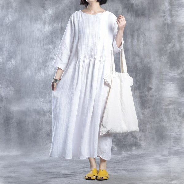 Women Cotton Linen Summer Dress