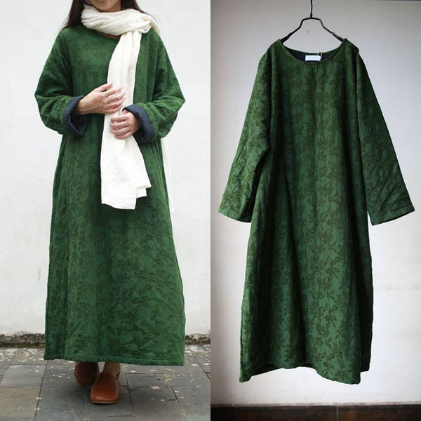 Women cotton linen thick coat - Buykud