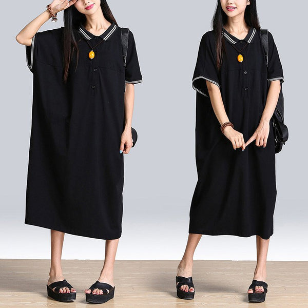 Women Cotton Long Sleeve  Or Short Sleeve Shirt Dress